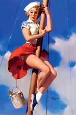 Incorniciato stampa-Elvgren Pin Up Girl un navi MAST (PICTURE POSTER SAILOR ART)