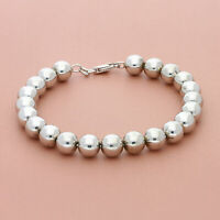 blushed sterling silver italy 8mm bead chain bracelet 7.75in