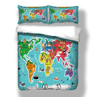 World Map Duvet Cover Animal Bedding Set Quilt Cover Pillow Cases All Sizes HD