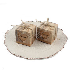10pcs Rustic Kraft Paper Candy Box Love Heart Wedding Favor Valentine Gift Bag