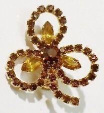 broche ancienne treffle porte bonheur cristal couleur citrine couleur or * 3999
