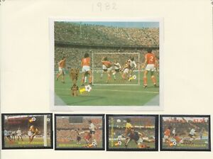 1982  St LUCIA WORLD CUP SPAIN SET 4 FOOTBALL & THE M/SHEET MNH (3286)