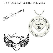 Personalised Name Necklace Heart Ring Love silver Plated Gift Jewellery Vincenza
