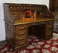 "Vintage American 66"" Oak Crest S Curve Golden Oak Quarter-sawn Roll Top Desk"