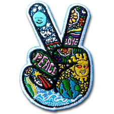 Sugar Victory Hand Peace Sign Patch Iron on Tattoo Hippie Biker Sew Badge Boho