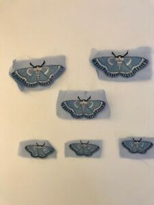 Embroidery applique butterfly/moth on tulle set of 6 in light blue and pink