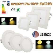 LED Recessed Ceiling Panel Light 6W-24W Down Light Ultra Slim Lamp Square/Round