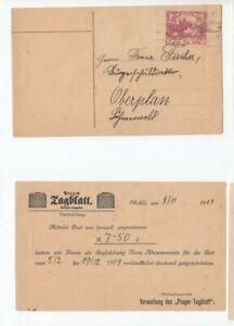 Wg115/ CSSR Ganzsache ZUDRUCK Prager Tagblatt oo 1919