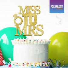 Personalised Custom MISS TO MRS glitter cake topper - Just married/wedding/gift