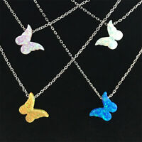 925 Silver Multi-Color White Blue Fire Opal Butterfly Necklace Pendant Choker!!