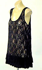 SexyFrilledBlackSequinStretchLaceMicroMini NWoT*
