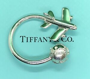 Tiffany Co. Airplane Jet Plane World Globe Sterling Silver .925 KeyChain KeyRing