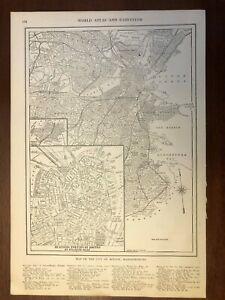 1917 Boston, Massachusetts Map, Encyclopedic Atlas and Gazetteer