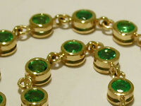 Genuine Solid 9ct Yellow Gold NATURAL Emerald Line / Tennis Bracelet  18cm