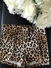 Animal Print Shorts High Waist 6 mock Buttons Down the Front.NWT Size Large