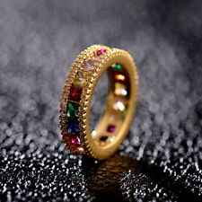 Fashion Gold Rainbow Square Baguette Cubic Zirconia Engagement Ring Jewelry Gift