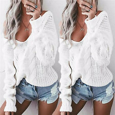 Autumn Womens V neck Oversized Baggy Jumpers Knitted Warm Chunky Sweaters  Je