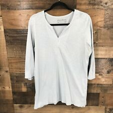 Eddie Bauer Outdoor Women's Gray 3/4 Sleeve Embroidered Tunic Length Popover Top
