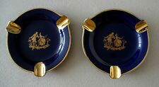 Vtg Limoges Giraud France Pair Of Ashtrays Cobalt Blue & Gold Couple Scene