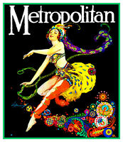 Willy Pogany Art Nouveau Dancer Counted Cross Stitch Chart Pattern