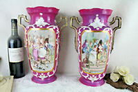 Antique PAIR Elite porcelain Limoges marked Vases Napoleon scenes