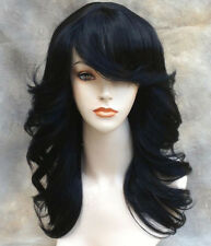 Human Hair Blend Wig Med length Layered open curls Bangs in Off Black ST #1B