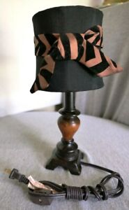 "Brown & Black Wood & Fabric Zebra Boudoir Vanity Dresser Lamp Light 12"" H"