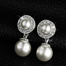 18k white gold GF made with swarovski crystal elegant pearl stud earrings