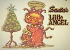 Original Vintage Santa's Little Angel Iron On Transfer Christmas Holiday Glitter