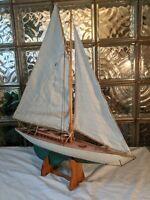 Handsome Vintage Hollow Wood Pond Yacht model display sailboat!