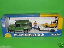 Bruder 02593 Land Rover Defender + Einachsanhänger, JCB Mikrobagger, Bauarbeiter