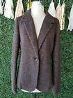 J.Jill Brown Boiled Wool Embellished Metallic Sequin Jacket Blazer L