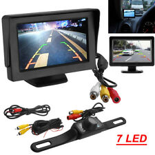 "4.3"" LCD Monitor Car Camera Rear View Backup Parking Reverse Kit Night Vision"