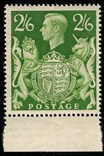 1942 KGVI SG476b 2s6d Yellow-Green Q30 Marginal MNH OG Mint CV £15
