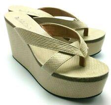 Michael Antonio Women's Slip-On Platform Thong Toe Dress Sandals Beige  6,5 US