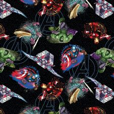 Marvel Avengers Badges 100% Cotton fabric by the yard