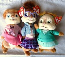 JEANETTE, ELEANOR & BRITTANY - TY CHIPPETTES - Alvin & the Chipmunks -MINT TAGS