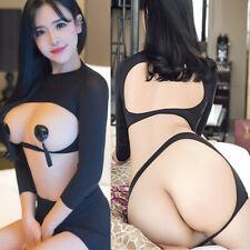 Sexy Women's Lingerie Open Bust & Butt Mini Dress Set Crop Top + Skirt Sleepwear
