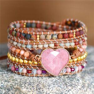 Exquisite Leather Rhodonite Heart Jasper Healing Beads Gift Bracelet Boho UK New