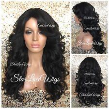 Long Curly Wig Bangs Side Part Light Yaki Off Black #1b Heat Safe Wigs For Women