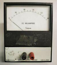 Dc Milliamperes Simpson Electric Company Analog Volt Meter Panel Meter 0 150 Dc