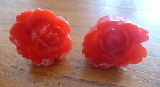 Ladies, Women's, Girl's Large Red Coloured Flower Rose Studs. Free Shipping.