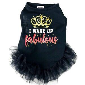 Simply Wag Dogs Black Knit I WAKE UP FABULOUS Glitter TuTu Dress Sz Small NEW