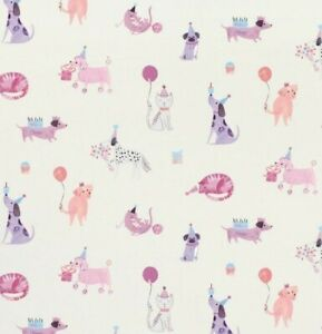 NEW Laura Ashley Pets Party Wallpaper Cat Dog Pink Purple 4 Roll Same Lot