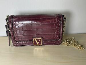 Victoria's Secret Medium Shoulder Crossbody Bag Crimson Croc Signature V NEW