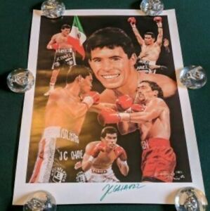 """1995 SIGNED JULIO CESAR CHAVEZ/ ANGELO MARINO LITHOGRAPH 24"""" x 20"""" BOXING"""