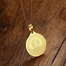 Men Women Gold Stainless Steel Coin Figure of Buddha Pendant Necklace Chain