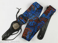 Electric, Acoustic, Bass GUITAR STRAP - TRIBAL GRAFFITI in Light Blue/Blue/Brown