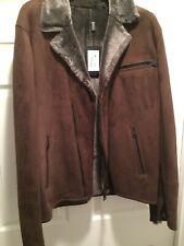 Men's Sheepskin Biker Jacket  (L/XL) Color : Chocolate