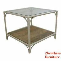 mid century metal faux bamboo Patio Porch  rattan lamp end table